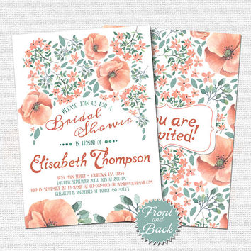 Printable Bridal Shower Invitation, Vintage Coral Floral Invitation, Watercolor Flowers