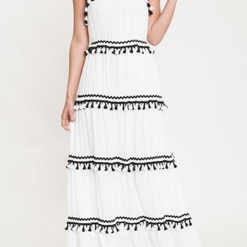 Friends Forever Tassel Maxi Dress (White)