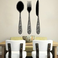 Wall Decal Vinyl Sticker Decals Knife Fork Spoon Vintage Pattern Cutlery Dining Room Cafe Kitchen Decor Interior Window Decal Art Murals