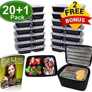 3 Compartment Microwavable Reusable Meal Prep Food Storage Containers W Cutlery, Ebook & Lunch Bag, 20 Pk