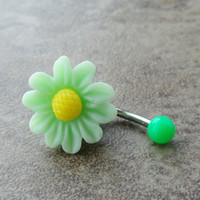 Light Mint Green Daisy Flower Belly Button Jewelry Chrysanthemum
