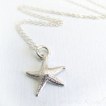 Starfish Necklace Sterling Silver - pendant necklace simple beach lovers necklace, friend, daughter, girlfriend, bridesmaid gift