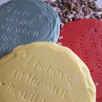 Set of Three Inspirational And Motivational Quote Ornament Handmade From Plaster Desk Paper Weight