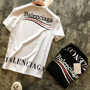Balenciaga 2018 poster limited couple models main models stylish short sleeves F-XMCP-YC