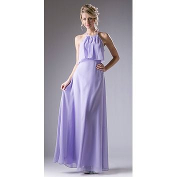 Ruffled Bodice Halter Floor Length Formal Dress Lilac