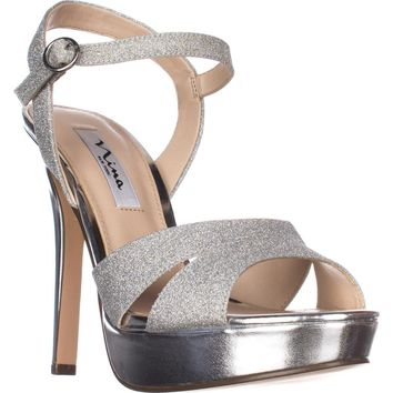 Nina Shara Platform Dress Sandals, Silver Glitter, 10 US