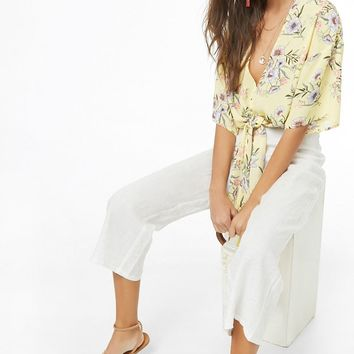 Floral Tie-Front Chiffon Top