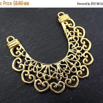 SUMMER SALE NEW Large Lace Crescent Pendant Connector 22k Matte Gold Plated Turkish Jewelry Making Supplies Findings Component
