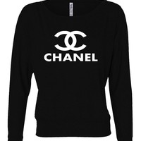 Chanel Top Ladies' Flowy Long-Sleeve Off Shoulder T-Shirt