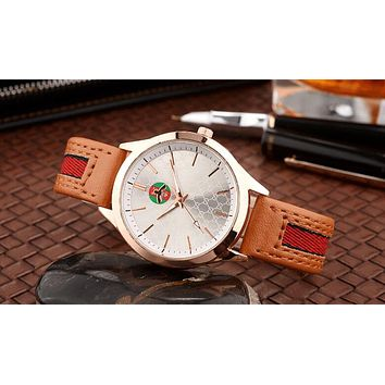 "Hot Sale ""Gucci"" Fashion Women Men Bee Stripe Movement Watch Lovers Wrist Watch(5-Color) Brown I12598-1"