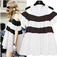 Striped Off-Shoulder Ruffle Mini Dress