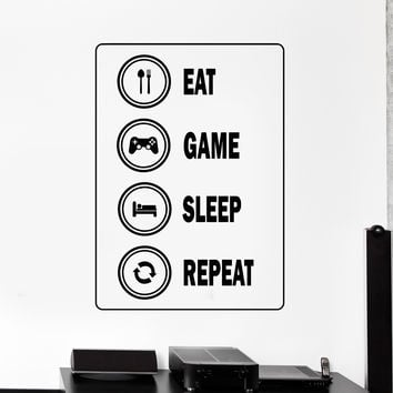 Vinyl Wall Decal Gamer Video Game Player Rules Stickers Unique Gift (876ig)