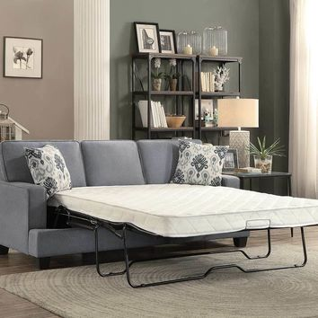 Fabric Wooden Transitional Sofa With Queen Sleeper, Gray