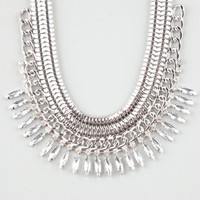 Full Tilt Rhinestone Spike/Chain Collar Necklace Silver One Size For Women 24827614001