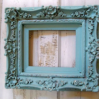 Hand painted French blue ornate frame thick fancy baroque style hint of aqua Anita Spero