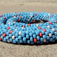 Southwestern Necklace Bead Crochet Rope Coral Reef in Turquoise Blue Light & Dark Coral Orange Womens Mens Seed Beaded Necklace