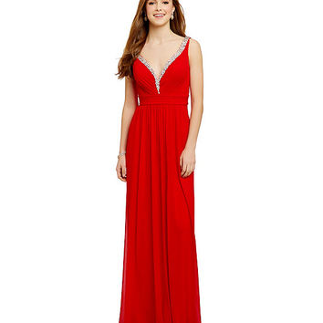 JVN by Jovani Beaded-Plunging-V-Neck Dress | Dillards
