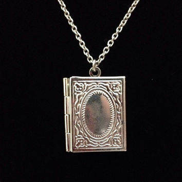 Antiqued bronze book locket pendant necklace