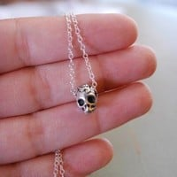 Sugar Skull Necklace Silver Dia De Los Muertos Necklace Day Of The Dead Skull Necklace