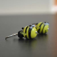 Bumble Bee Earrings, Yellow, Black Striped Lampwork Glass Bead Earrings