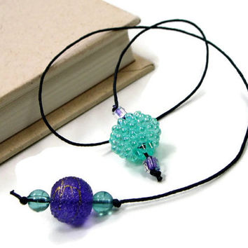 Book Thong Bookmark, Beaded, Book String, Book Cord, Turquoise, Aqua, Purple, Teacher Gift, Bible Bookmark