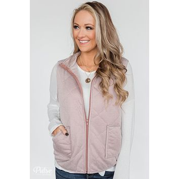 Quilted Pocket Vest- Mauve
