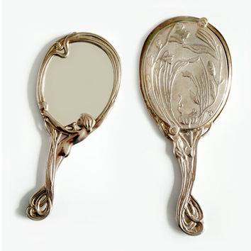 Antique French Silver plated Hand Mirror , Art Nouveau Hand Mirror , Silver Hand Mirror 1920's