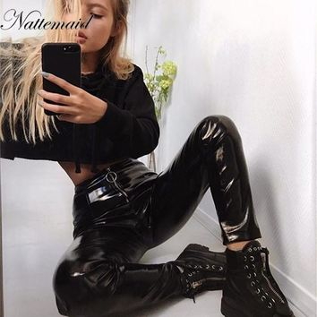 NATTEMAID Autumn Winter Women Clothes PU Leather Pencil Leggings Thin Fleece Sexy Trousers Bodycon Ladies Faux Leather Pants