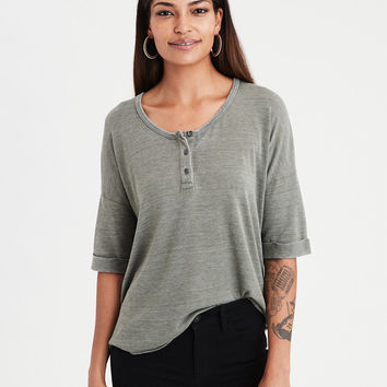 AE Burnout Henley T-Shirt, Olive