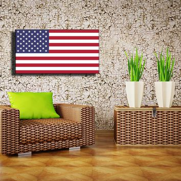Canvas Print of Wall Art Poster, American National Flags, Star & Stripes National Flag as Kid Room Nursery Poster Wall Decor