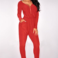 Red Long Sleeve Front Zipper Jumpsuit