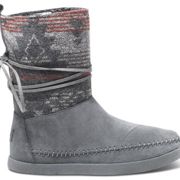 TOMS Grey Suede Jacquard Women's Nepal Boot Grey