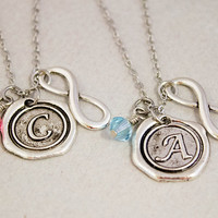 Two Best Friends Necklaces - Wax Seal Charm Necklaces - Infinity Birthstone Jewelry - Custom Monogram Jewelry - Best Friend Gift