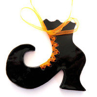 Halloween Witch Shoe Black Primitive Ornament Eco Friendly Art Ceramic Home Decoration