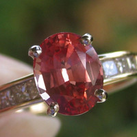 Natural Sapphire & Diamond Ring Padparadscha Color Engagement Alternative Wedding Promise Ring 14k Yellow Gold Vintage Ring