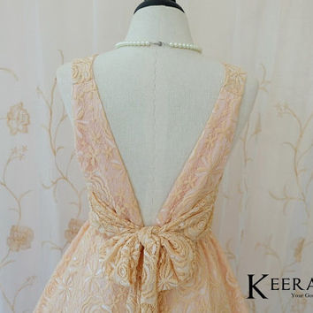 A Party V Charming Dress Creamy Beige Lace Sparkle White Beige Roses Backless Dress Prom Party Dress Lace Wedding Bridesmaid Dress XS-XL