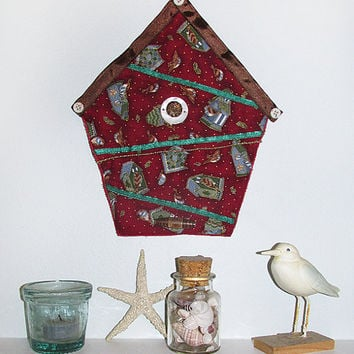 Art Quilt Christmas Birdhouse With Birdhouses Red