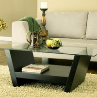 Furniture of America Hudson Coffee Table with Glass Top, Black