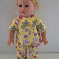 Handmade for American Girl Doll  Yellow Flannel Pajamas by vw53