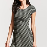 Striped Lettuce-Edge Dress
