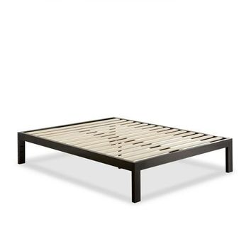 Full Modern Black Metal Platform Bed Frame with Wood Slats