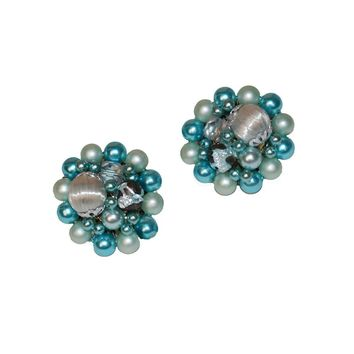 1950s Blue Cluster Bead Earrings, Made in Japan