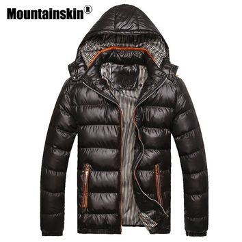 Mountainskin Solid Hooded Men's Winter Jackets Casual Parkas Men Coats Thick Thermal Shiny Coats Slim Fit Brand Clothing SA045