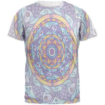 CREYCY8 Mandala Trippy Stained Glass Fish Mens T Shirt