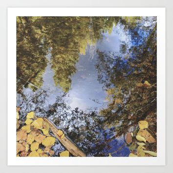 Forest reflections. Retro autumn Art Print by Guido Montañés
