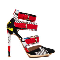 Strappy Red Multi Printed Pointed Toe Pumps