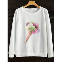 Crew Neck Icecream Cone Sweatshirt