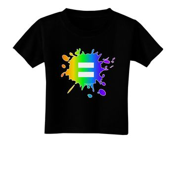 Equal Rainbow Paint Splatter Toddler T-Shirt Dark by TooLoud