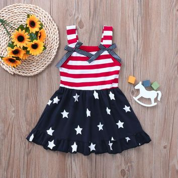 Polka Dot Navy Stars Dress Red Stripe Bows