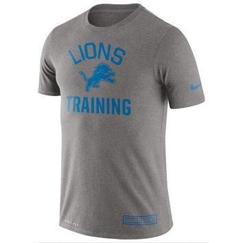 Best Deal Online MEN'S DETROIT LIONS NIKE HEATHERED GRAY TRAINING PERFORMANCE T-SHIRT